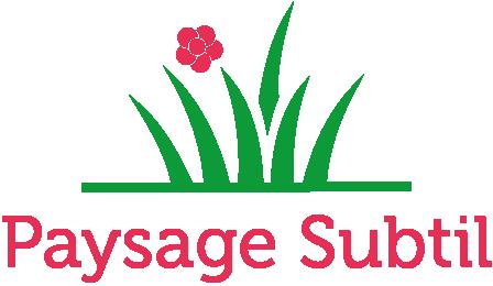 Logo Paysage Subtil représentant des herbes avec une fleur rose